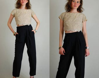 Tailored Lace Top Vintage 50s Beige Scalloped Lace Tailored Crop Blouse (s)