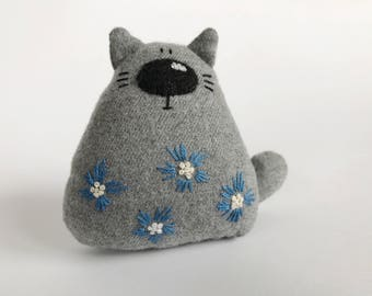 Cat stuffed animal, cat toy, cat plushie, cat softie, cat lover gift, soft toys, grey cat toy, ooak, miniature cat, flower embroidery