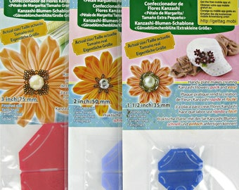 Daisy Flower Maker,Japanese Kanzashi Flower Makers,Three Templates,Clover,Traditional,Sizes, Small Flower, X-Small Flower and Large Flower,