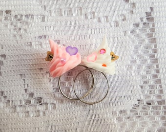 Whipped Cream Ring with a Cute Bear, Hearts and Gems - Pink or White