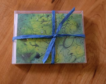 Box of 8 Splatter Paint Note Cards, 4 X 5 1/2 inch Watercolor Print Cards, Blank Inside with Envelopes, Fine Art Cards