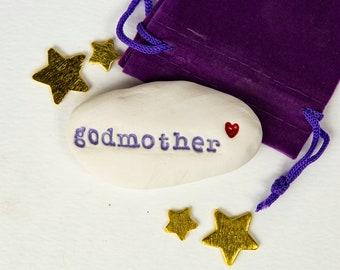 Godmother Gift Pebble ceramic message pebble Godparent gift white stone