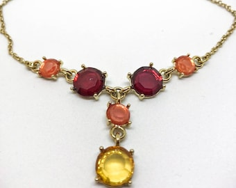 Crystal and Gold Drop Necklace