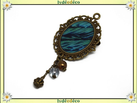 Brooch blue green Peacock resin feather and retro charm beads