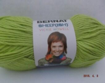 Bernat Sheepish Yarn ~ Limeish ~ Wool Blend ~ #4 Medium ~ 85 grams/2.4 ounces ~ 137 yards