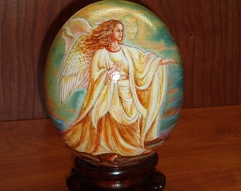Angel/ Religions Scenes/ Hand Painted Ostrich Egg Shell/ Ostrich Egg Art/ Egg Art