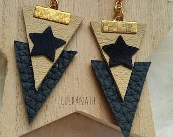 Earrings are made of Navy Blue and beige leather, Navy blue leather star