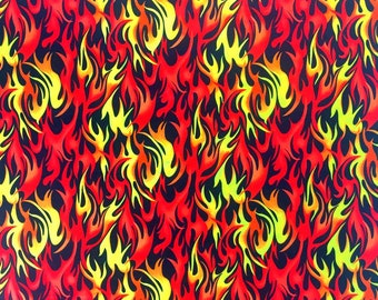 Red , Orange and Yellow Flame fabric by the yard , 100% Cotton fabric with fire / flames , Fabri Quilt ,  Hot rod flame fabric