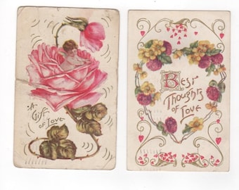 2 vintage antique Valentine's Day postcards. Antique vintage ephemera greeting card. 1910 and 1909 postmarks. Thoughts of Love, gift of love