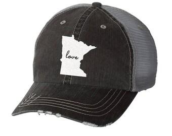 State of Minnesota Love Distressed Ladies Baseball Hat | Mesh | Trucker | State Pride | Home | MN | love