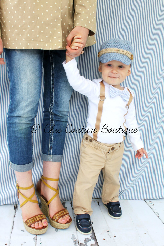 Baby Boy Bow Tie & Suspender Bodysuit. Baby Blue Seersucker