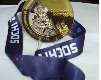 2014 Sochi Olympic 'Gold' Medal + Silk Logo Ribbons