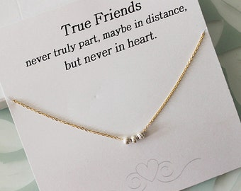 Sterling silver three wishes necklace, Friendship Necklace, Best Friend Gift, everyday jewelry