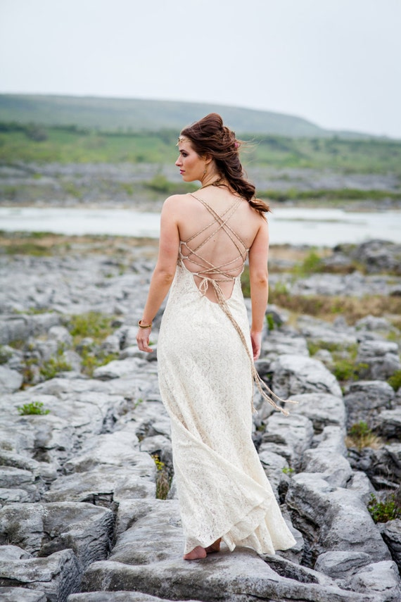 Raw Goddess Celtic Wedding Dress Princess Bride Queen