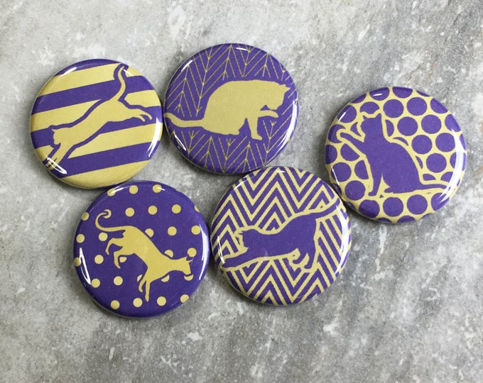 Cat Magnets - Patterned Cats in Purple and Gold - Set of 5 - Refrigerator Magnets - Office Decor