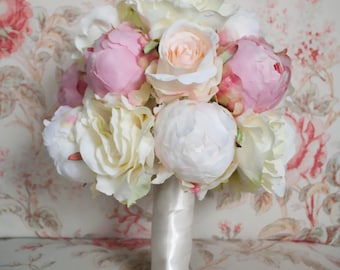 Peony and Rose Wedding Bouquet - Ivory and Blush Peony and Rose Wedding Bouquet