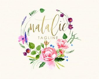 premade logo design, floral wreath logo
