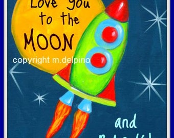 XL Rocket Ship galaxy Space ship I Love You to the Moon and Back poster nursery quote moon stars nursery wall decor little boy bedroom art