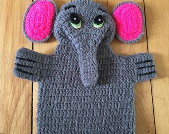 Vintage des années 1970 gris tricoté Dali marionnette d'éléphant!