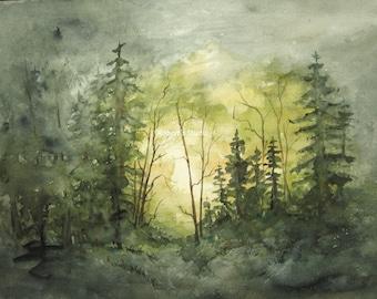 Watercolor Landscape Painting Archival Print, forest painting, watercolor forest, watercolor art, woodland painting, landscape art tree art.
