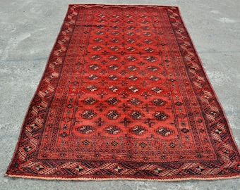 7.6 x 4.4 Feet Qaleen Baluchi Chowal Fine Hand Woven Area Rug, Home decoration, Carpet, Article H002