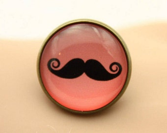 RING black mustache on a red background (2020B)