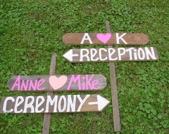 rustic wood wedding signs / wedding decorations / country wedding / wedding signage / reception sign / ceremony sign / mr and mrs signs