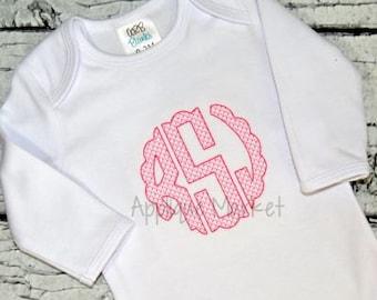 Machine Embroidery Design Embroidery Scallop Circle Monogram Lattice Fill Font INSTANT DOWNLOAD