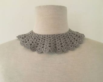 Vintage Grey Crochet Collar | Crochet Peter Pan Collar