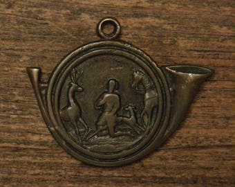 Antique bronze religious Hunters horn shape medal pendant Saint Hubert with dog & horse appearance of the holy deer