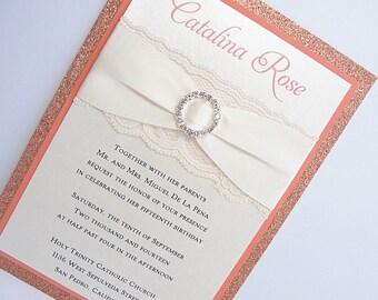 Wedding Invitations, Wedding Invite, Lace Wedding Invitation, Glitter Invite, Sweet 16 Invitations, Quinceanera Invite, COCO-QUINCE PEACH