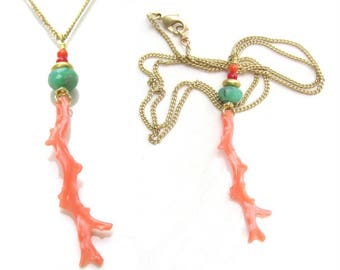 Natural Pink Coral Branch Pendant with Chrysoprase on Gold Vermeil Chain Necklace - Handmade Jewelry