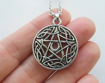1 Pentagram charms antique silver tone HC194