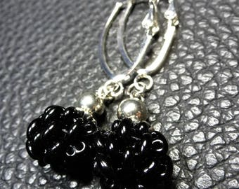 Classic Lustrous Black Weaved Glass Plated SIlver  Earrings