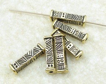 15mm Long Rectangular Tube Barrel Bead - TierraCast Ethnic Long Bead - Antique Gold Beads for Jewelry Making - 6 or more pieces (P2477)