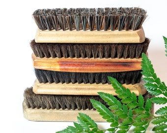 collection of vintage shoe brushes, shoe brush, Shoe Shine, set of 4, display prop, Buffing Brushes, wooden brush set, instant collection