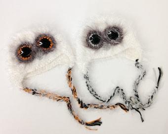 Baby Boy or Girl Owl Hat, Newborn Photo Prop, 0 - 3 months, RTS. Fuzzy Owl Hat, Baby Photo Prop, Gift.
