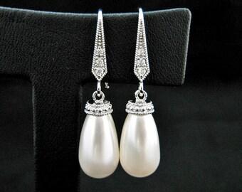 Bridal Pearl Earrings Teardrop Pearl Earrings Swarovski Pearl Earrings Drop Dangle Earrings Bridesmaid Gift Wedding Jewelry (E205)