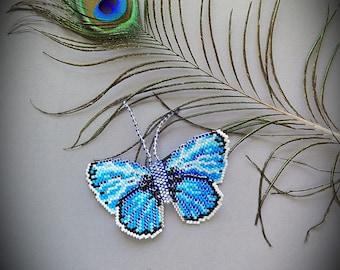 Handmade beaded butterfly brooch, blue butterfly, butterfly brooch, blue brooch, handmade brooch
