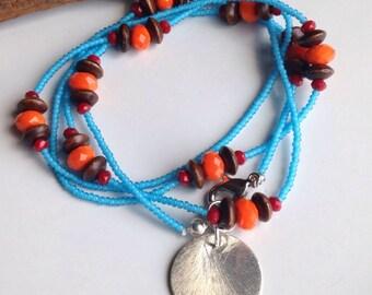 Beaded Wrap Bracelet, Seed Bead Bracelet, Beaded Necklace, Turquoise Colored Seed Bead, Orange Glass, Cherry Red Quartz, Wood