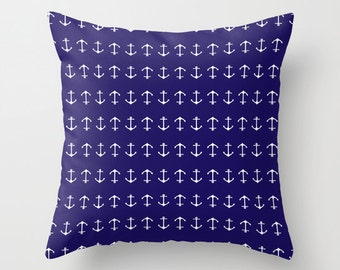 Anchors Pillow with insert - Navy Blue - Modern - Nautical Home Decor -