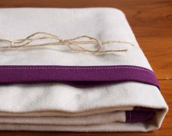 Purple and Ivory Flannel Soft Swaddling Blanket; Modern Receiving Blanket for Baby Girl; Pretty Handmade Toddler Girl Flannel Blanket; Iris