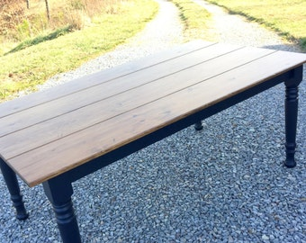 Black Farm Table, Rustic Farm Table, Distressed Kitchen Table