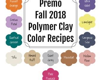 Premo brand Polymer Clay Color Recipe Ebook for Fall 2018