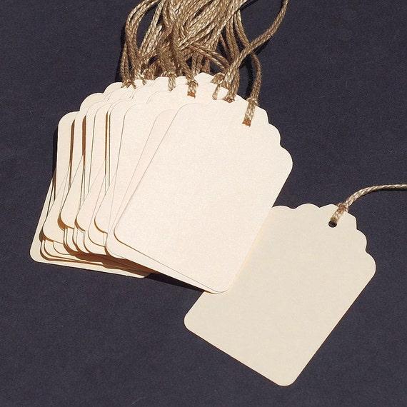 Blank Gift Tags- 25 DIY wedding favor tags, plain paper tags, hang ...