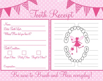 Tooth fairy cards etsy instant download tooth fairy receipt 5x7 size yelopaper Image collections