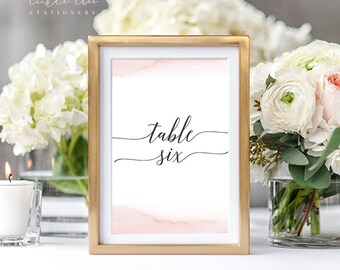 Table Number Cards - Modern and Subtle Golds & Pinks (Style 13844)