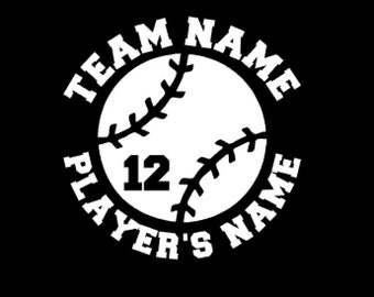 Personalized baseball decal, car decal, custom baseball decal, water bottle sticker, team name, player's name and number, baseball sticker