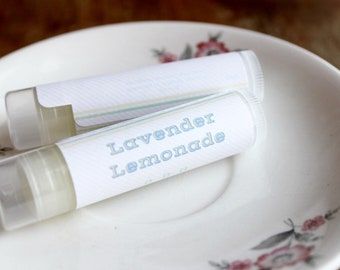 Lavender Lemonade Flavored Handmade Lip Balm  // Shea Butter and Vitamin E // Wedding Favors // Bridesmaid Gifts // Summer Flavors