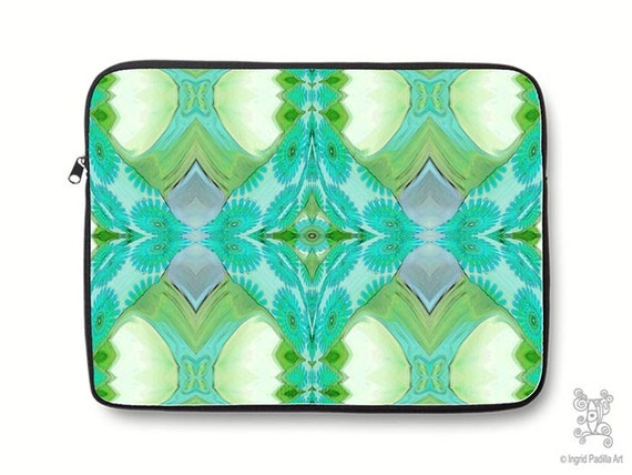 Boho, Bohemian, turquoise, vintage, Neoprene, Laptop Sleeve, Macbook case, Laptop case, Laptop Cover, Ingrid Padilla, Abstract Art